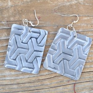 Abstract Square Drop Earrings Statement Silver